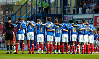 Photo: Ed Godden.<br /> Portsmouth v Liverpool. The Barclays Premiership. 28/04/2007. Portsmouth players take part in a 1 minute applause dedicated to Alan Ball.