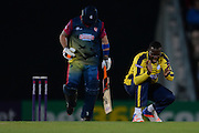 Hampshire T20 all-rounder Darren Sammy celebrates the wicket of Kent All-Rounder Darren Stevens during the NatWest T20 Blast South Group match between Hampshire County Cricket Club and Kent County Cricket Club at the Ageas Bowl, Southampton, United Kingdom on 2 June 2016. Photo by David Vokes.