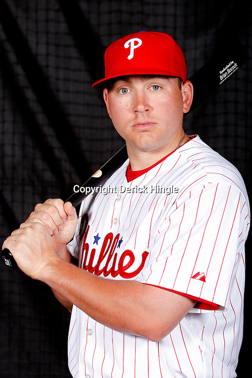 February 22, 2011; Clearwater, FL, USA; Philadelphia Phillies shortstop Brian Bocock (25) poses during photo day at Bright House Networks Field. Mandatory Credit: Derick E. Hingle