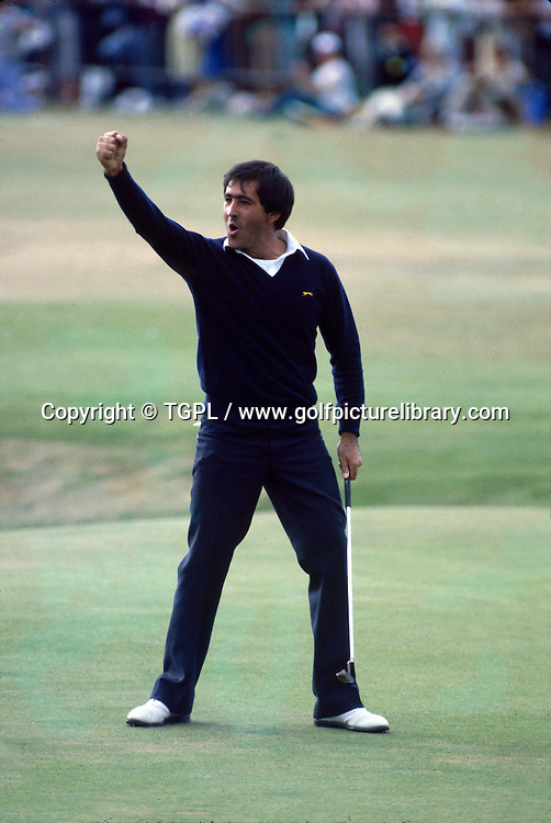 Seve BALLESTEROS (SPN) celebrates his historic victory at 18th after making birdie during fourth round Open Championship 1984,St.Andrews,Old Course, St.Andrews, Fife, Scotland.3 of 3 frame sequence.