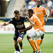 Union Midfielder Michael Farfan #21 retains procession of the ball during Saturday MLS regular season match between The Philadelphia Union and The Houston Dynamo. The Dynamo and The Philadelphia Union played to a 1-1 tie. Saturday Aug. 6, 2011. at PPL Park in Chester PA...The News Journal/SAQUAN STIMPSON