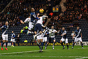Adam Reach challenges for Preston North End  during the Sky Bet Championship match between Preston North End and Birmingham City at Deepdale, Preston, England on 15 December 2015. Photo by Pete Burns.