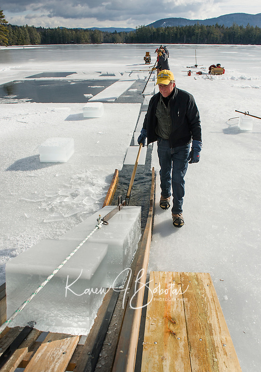 Manager John Jurczynski  guides ice blocks up the chute during the Rockywold-Deephaven Camp annual ice harvest on Wednesday morning.  (Karen Bobotas/for the Laconia Daily Sun)