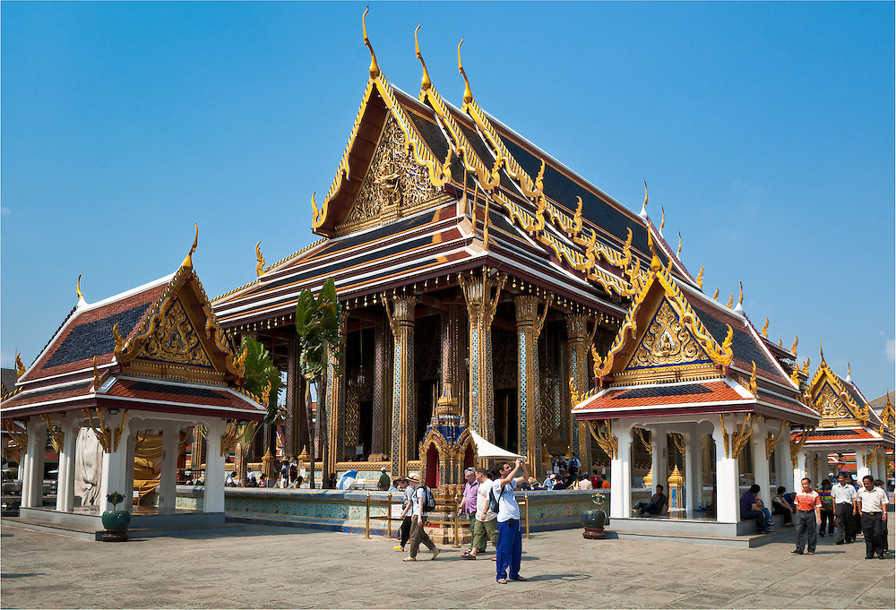 Wat Phra Kaew, The Temple of the Emerald Buddha, at The Grand Palace in Bangkok, Thailand.