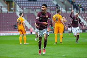 Sean Clare (#9) of Heart of Midlothian celebrates after scoring his first goal for Hearts during the 4th round of the William Hill Scottish Cup match between Heart of Midlothian and Livingston at Tynecastle Stadium, Edinburgh, Scotland on 20 January 2019.