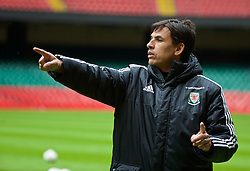 CARDIFF, WALES - Saturday, March 26, 2016: Wales' manager Chris Coleman during a training session at the Millennium Stadium ahead of the International Friendly match against Ukraine. (Pic by David Rawcliffe/Propaganda)
