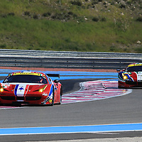 #83, Ferrari F458 Italia, AF Corse, driven by Francois Perrodo, Emmanuel Collard, Rui Aguas #51, Ferrari 488 GTE, driven by Gianmaria Bruni, James Calado, FIA WEC Prologue Circuit Paul Ricard, 26/03/2016,
