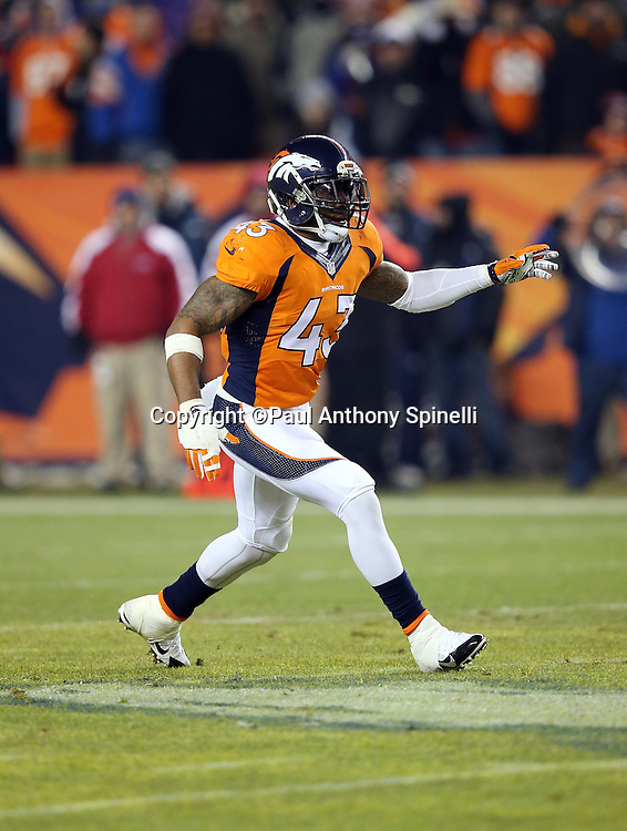 Denver Broncos strong safety T.J. Ward (43) chases the action during the 2015 NFL week 16 regular season football game against the Cincinnati Bengals on Monday, Dec. 28, 2015 in Denver. The Broncos won the game in overtime 20-17. (©Paul Anthony Spinelli)