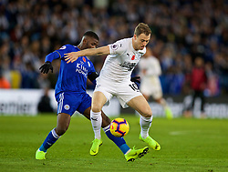 LEICESTER, ENGLAND - Saturday, November 10, 2018: Burnley's Ashley Barnes (R) is tackled by Leicester City's Kelechi Iheanacho during the FA Premier League match between Leicester City FC and Burnley FC at the King Power Stadium. (Pic by David Rawcliffe/Propaganda)