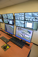 Security monitors show the grounds as media members tour the newest prison in Pennsylvania Friday, September 01, 2017 at State Correction Institution Phoenix in Skippack, Pennsylvania. The facility is inching closer to opening, two years late, to replace Graterford Prison at a cost of $400 million. (Photo by William Thomas Cain/CAIN IMAGES)