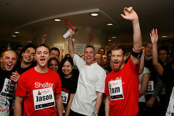 © Licensed to London News Pictures. 01/03/2012. LONDON, UK. . Celebrity chefs Gary Rhodes, Tom Aikens and Jason Atherton start the race at Shelter's Vertical Rush, the UK's biggest tower running event in the City of London.  Today (01/03/12) a host of celebrities joined 1,200 people to run up the 920 steps of Tower 42, raising £250,000 for housing charity Shelter. Now in its fourth year, the award-winning Vertical Rush will once again take place at London's original skyscraper, Tower 42. Photo credit: Matt Cetti-Roberts/LNP© Licensed to London News Pictures. 01/03/2012. LONDON, UK. CAPTION HERE. Photo credit: Matt Cetti-Roberts/LNP