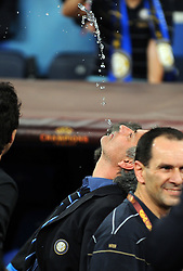 Jose Mourinho celebrates Victory by spitting out water from his mouth during the UEFA Champions League final football match Inter Milan against Bayern Munich at the Santiago Bernabeu stadium in Madrid on May 22, 2010