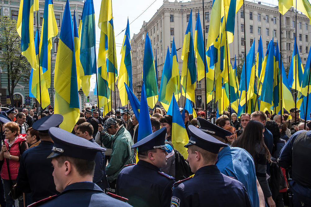 KHARKIV, UKRAINE - APRIL 23:  on April 23, 2014 in Kharkiv, Ukraine. Pro-Russian activists have been occupying government buildings and demanding greater autonomy in many Eastern Ukrainian cities in recent weeks. (Photo by Brendan Hoffman/Getty Images) *** Local Caption ***