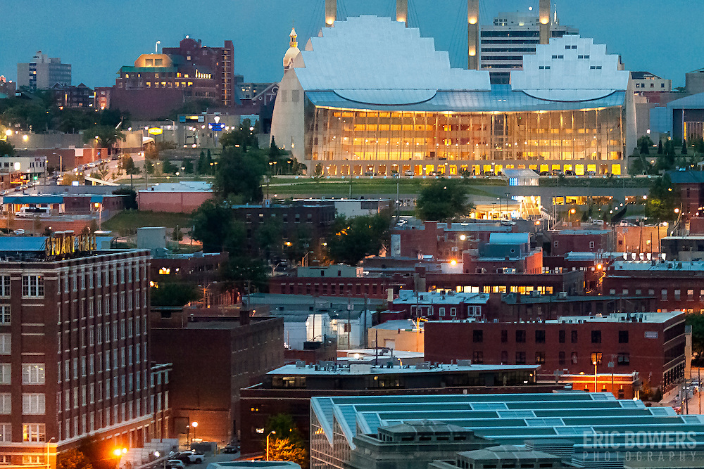 Kansas City's Kauffman Center for the Performing Arts with Crossroads District in foreground.