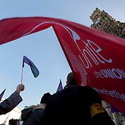 One day strike and rally in Centenary Square Bradford, by Public Sector unions protesting at proposed government changes to pensions.