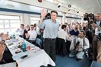 04 JUN 2019, BERLIN/GERMANY:<br /> Rolf Muetzenich, SPD, kom. Fraktionsvorsitzender der SPD-Bundestagsfraktion, vor Beginn der Spargelfahrt des Seeheimer Kreises der SPD, Anleger Wannsee<br /> IMAGE: 20190604-01-145