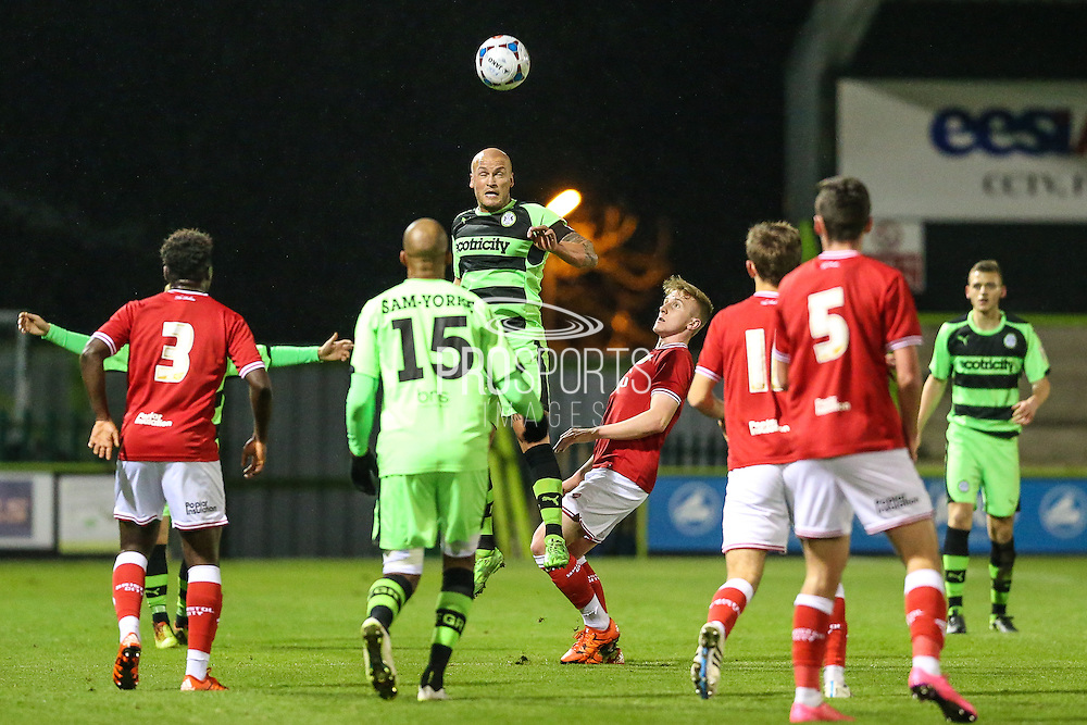 David Pipe heads clear for Forest Green Rovers during the The County Cup match between Forest Green Rovers and Bristol City at the New Lawn, Forest Green, United Kingdom on 23 November 2015. Photo by Shane Healey.