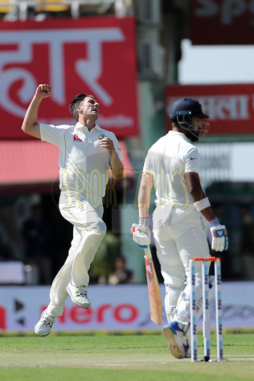 Pat Cummins of Australia shows his frustration as the ball passes slips during day two of the fourth test match between India and Australia held at the Himachal Pradesh Cricket Association Stadium on the 26th March 2017.<br /> <br /> Photo by: Ron Gaunt/ BCCI/ SPORTZPICS