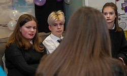 Pictured: Youth Advisors Verity Siagen (14), Patrick Heyes (16) both Trinity academy and Martha Barr (16) Leith Academy. <br />Mental Health Minister Clare Haughey visisted the Junction in Edinburgh today to announce extra funding for young people mental health staff.  The Junction centre provides care and support to young people from north Edinburgh. Ms Haughey announced funding for Child and Adolescent Mental Health Services (CAMHS) <br /><br />Ger Harley| EEm 19 December 2018