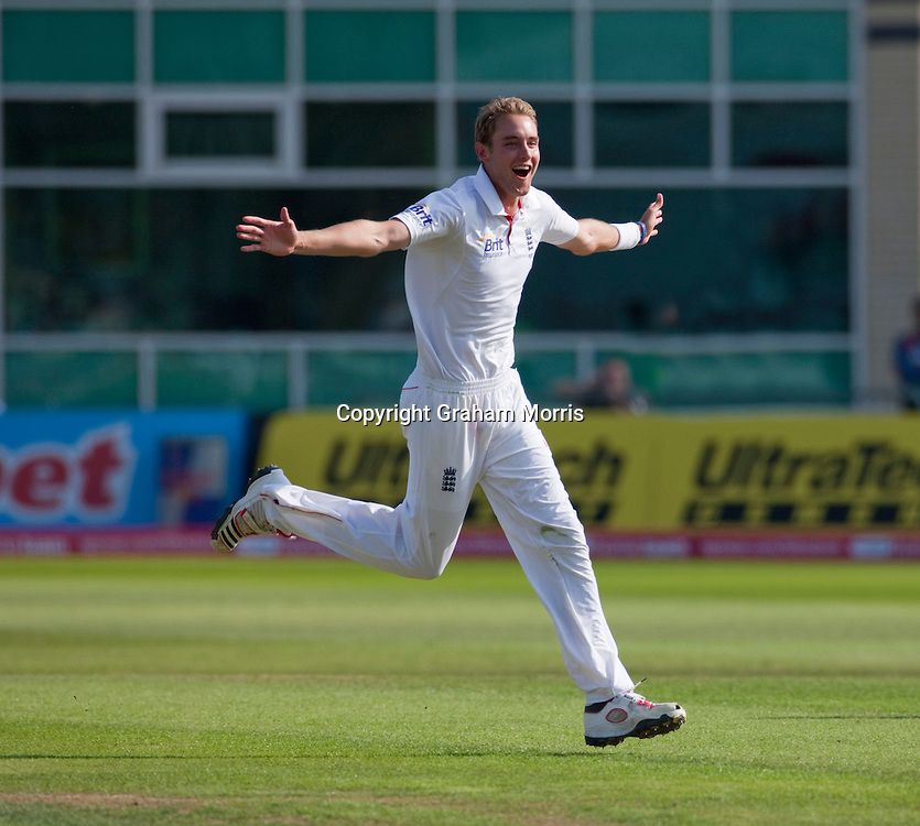 Stuart Broad celebrates the wicket of Praveen Kumar (the third of his hat-trick) during the second npower Test Match between England and India at Trent Bridge, Nottingham.  Photo: Graham Morris (Tel: +44(0)20 8969 4192 Email: sales@cricketpix.com) 30/07/11