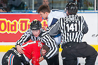 KELOWNA, CANADA - OCTOBER 14: Riley Stadel #3 of Kelowna Rockets drops the gloves with Chasetan Braid #18 of Saskatoon Blades on October 14, 2016 at Prospera Place in Kelowna, British Columbia, Canada.  (Photo by Marissa Baecker/Shoot the Breeze)  *** Local Caption *** Chasetan Braid; Riley Stadel;