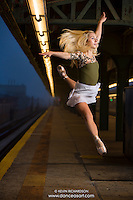 New York City Subway Ballerina Leap! Dance As Art Photography Project with Mykaila Symes