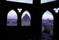 France. Paris. Elevated view  on the Conciergerie and Paris cityscape. the dome of  the tribunal de commerce,. view from the Conciergerie Bell tower  Paris  France