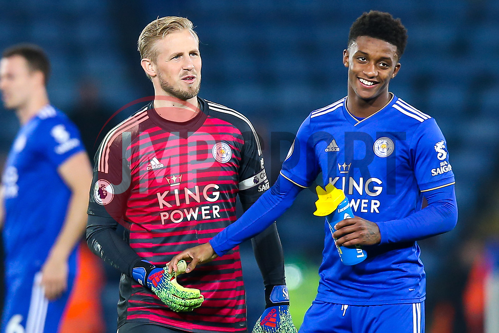 Kasper Schmeichel of Leicester City and Demarai Gray of Leicester City celebrate victory over Brighton and Hove Albion - Mandatory by-line: Robbie Stephenson/JMP - 26/02/2019 - FOOTBALL - King Power Stadium - Leicester, England - Leicester City v Brighton and Hove Albion - Premier League