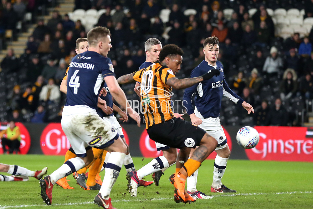 Hull City forward Abel Hernandez (10) scores a goal 1-2  during the EFL Sky Bet Championship match between Hull City and Millwall at the KCOM Stadium, Kingston upon Hull, England on 6 March 2018. Picture by Mick Atkins.