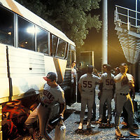 USA, Maryland, Hagerstown, Minor League baseball players load gear onto bus after Carolina League game