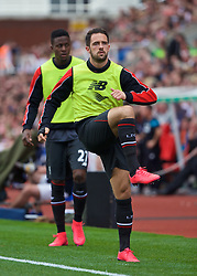 STOKE-ON-TRENT, ENGLAND - Sunday, August 9, 2015: Liverpool's substitute Danny Ings warms-up before the Premier League match against Stoke City at the Britannia Stadium. (Pic by David Rawcliffe/Propaganda)