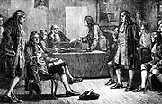 A meeting of the Royal Society in Crane Court, Fleet Street, where it had rooms from 1710-1782. Isaac Newton (1642-1727) is in the President's chair. Artist's reconstruction. Wood engraving c1880.