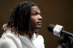 CeeDee Lamb #2 of the Oklahoma Sooners speaks with the media at Media Day on Thursday, Dec. 26, in Atlanta. LSU will face Oklahoma in the 2019 College Football Playoff Semifinal at the Chick-fil-A Peach Bowl. (Paul Abell via Abell Images for the Chick-fil-A Peach Bowl)