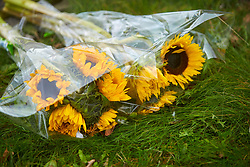 © Licensed to London News Pictures. 20/10/2019. Milton Keynes, UK. Flowers left near the scene in Archford Croft in Emerson Valley where two 17 year old boys were stabbed to death overnight. Two adult males where also injured. Thames Valley Police have begun a double murder investigation but have yet to make any arrests.  Photo credit: Cliff Hide/LNP