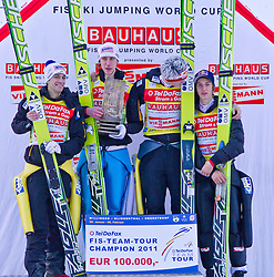 06.02.2011, Heini Klopfer Skiflugschanze, Oberstdorf, GER, FIS World Cup, Ski Jumping, Teamwettbewerb, Finale, im Bild FIS TEAM TOUR CHAMPION 2011 Austria, during ski jump at the ski jumping world cup Trail round in Oberstdorf, Germany on 06/02/2011, EXPA Pictures © 2011, PhotoCredit: EXPA/ P. Rinderer
