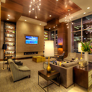 Lobby area of One Light Tower, new-build residential highrise in downtown Kansas City, MO.