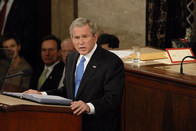 President George Bush presents is final State of the Union Address to a joint session of the US Congress on Capitol Hill on January 28, 2008
