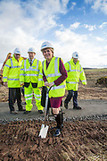 FIRST MINISTER CUTS THE FIRST SOD OF THE ABERDEEN WESTERN PERIPHERAL ROUTE ..   NICOLA STURGEON AT THE CEREMONY NEAR BALMEDIE , ABERDEENSHIRE.