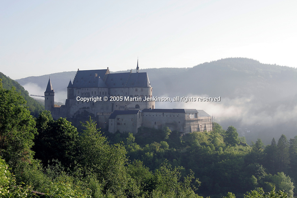 Early morning mist rises around Castle Vianden, Luxembourg ..., Travel, lifestyle