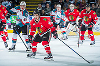 KELOWNA, CANADA - APRIL 14: Colton Veloso #39 of the Portland Winterhawks looks for the pass against the Kelowna Rockets on April 14, 2017 at Prospera Place in Kelowna, British Columbia, Canada.  (Photo by Marissa Baecker/Shoot the Breeze)  *** Local Caption ***
