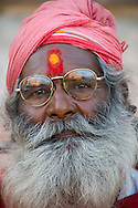 A holy man in a turban and long beard in Jaipur, Rajasthan, India