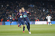 Angel Di Maria (psg) scored the first goal, Julian Draxler (PSG) in the background during the French Cup, quarter final football match between Paris Saint-Germain and Olympique de Marseille on February 28, 2018 at Parc des Princes Stadium in Paris, France - Photo Stephane Allaman / ProSportsImages / DPPI