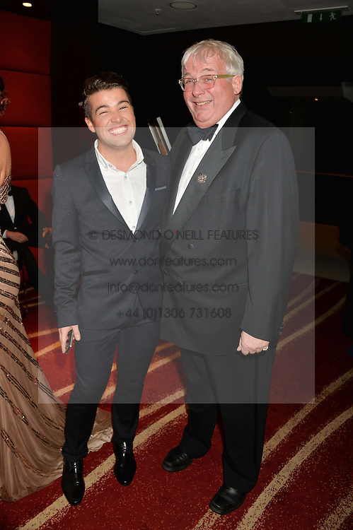 Left to right, JOE McELDERRY and CHRISTOPHER BIGGINS at the Soldiering On Awards held at the Park Plaza Hotel, Westminster Bridge, London on 5th April 2014.