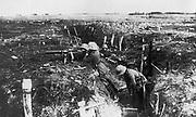 World War I 1914-1918. German machine gun unit in a trench, c1916.