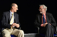 """HS1WORDS27P<br /> L-R Dan Synnestvedt, PhD,  and Rev. Jonathan Rose, MDiv, PhD. speak with each other before the start of """"The Unintelligible Afterlife What Deathbed Conversations tell us about A World Beyond """" at Bryn Athyn College's Mitchell Performing Arts Center Saturday September 19, 2015 in Bryn Athyn, Pennsylvania.  Erica Goldblatt Hyatt, a Bryn Athyn professor, says she's not interested in finding a window the afterlife, but helping the living understand what's happening with their dying relatives. (William Thomas Cain/For The Inquirer)"""