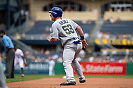 May 28, 2018 - Pittsburgh, PA, U.S. - PITTSBURGH, PA - MAY 28:   Chicago Cubs catcher Chris Gimenez (53) advances to second base on a sacrifice bunt from relief pitcher Mike Montgomery (38) in the fourth inning during an MLB game between the Pittsburgh Pirates and Chicago Cubs on May 28, 2018 at PNC Park in Pittsburgh, PA. (Photo by Shelley Lipton/Icon Sportswire) (Credit Image: © Shelley Lipton/Icon SMI via ZUMA Press)