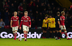 Connor Lemonheigh-Evans of Bristol City and teammates cut dejected figures after conceding a goal - Mandatory by-line: Robbie Stephenson/JMP - 06/01/2018 - FOOTBALL - Vicarage Road - Watford, England - Watford v Bristol City - Emirates FA Cup third round proper