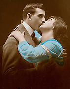 romantic portrait of young couple passionately kissing each other 1920s