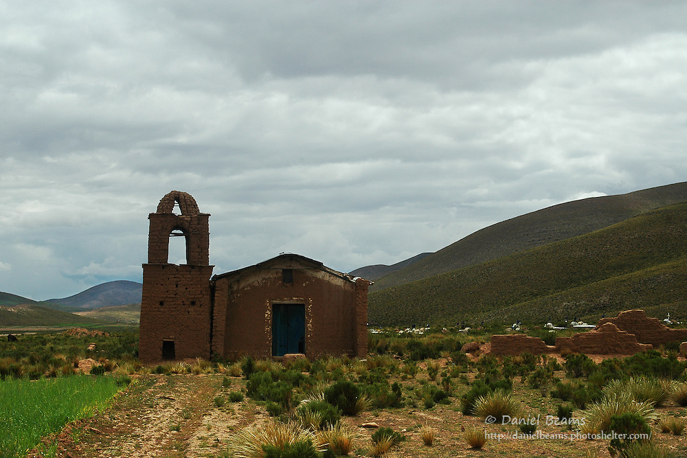 Old adobe Catholic church near La Paz, Bolivia