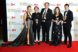 Kirsty Cunningham, Simon Ford, Jo Hughes and Bruce Fletcher with the award for Best Factual Series Awards alongside Katie Piper (left) in the press room at the Virgin TV British Academy Television Awards 2018 held at the Royal Festival Hall, Southbank Centre, London.
